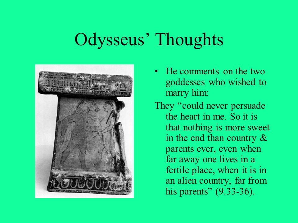 Odysseus' Thoughts He comments on the two goddesses who wished to marry him:
