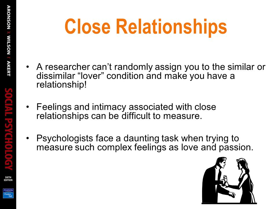 Close Relationships A researcher can't randomly assign you to the similar or dissimilar lover condition and make you have a relationship!