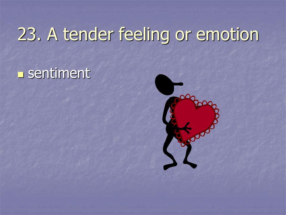 23. A tender feeling or emotion