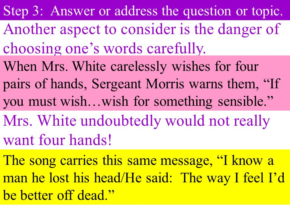 Mrs. White undoubtedly would not really want four hands!