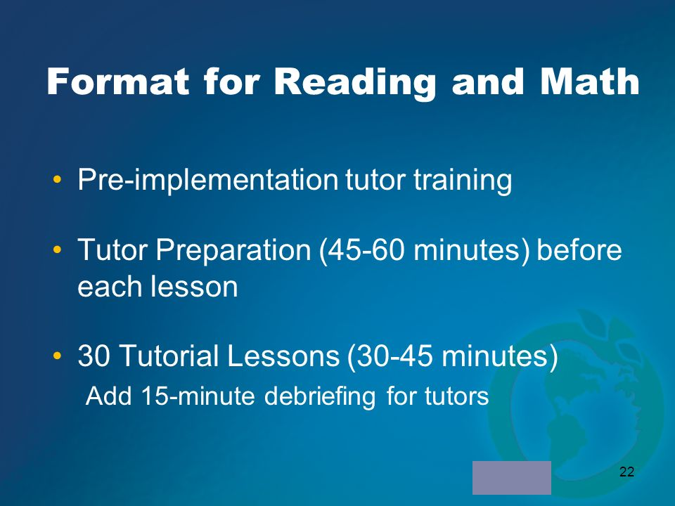 Format for Reading and Math