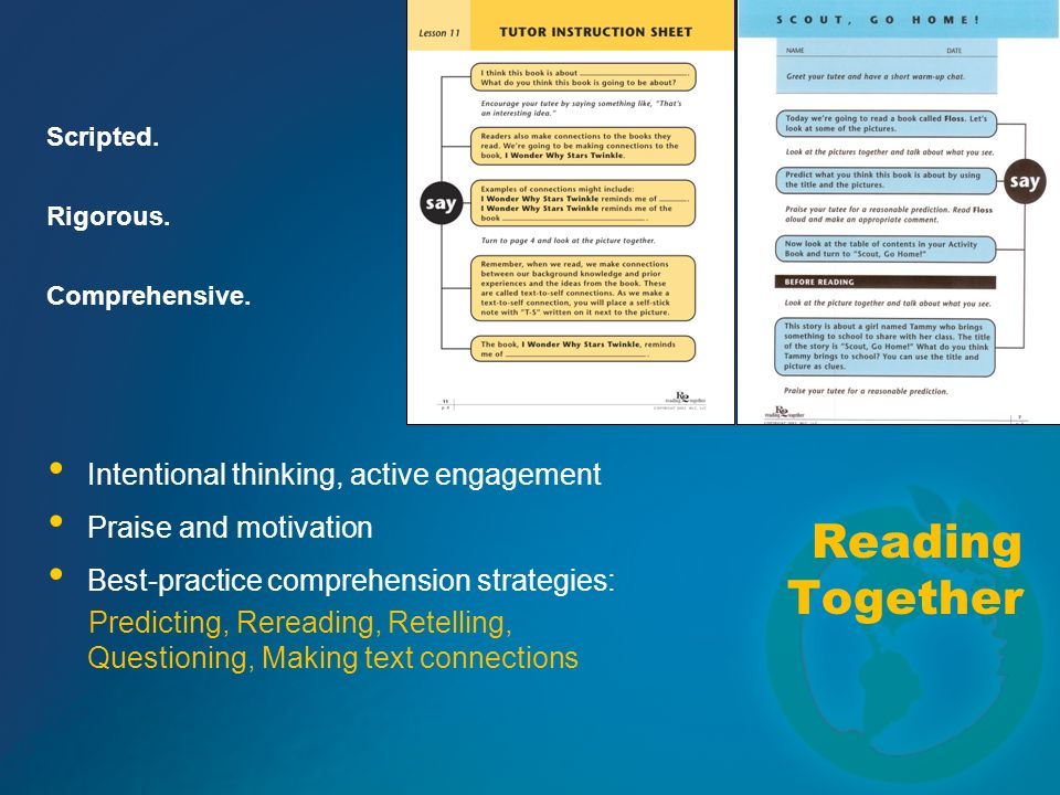 Reading Together Intentional thinking, active engagement