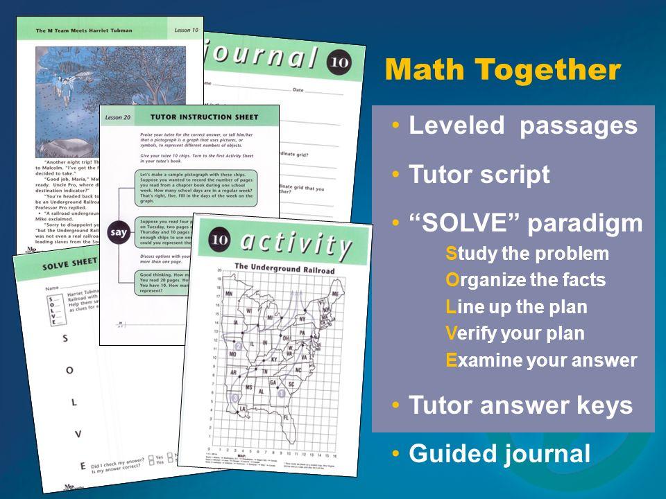 Math Together Leveled passages Tutor script SOLVE paradigm