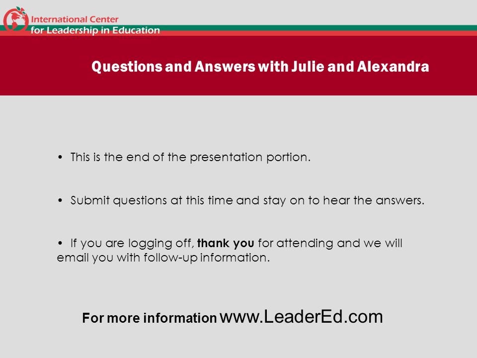Questions and Answers with Julie and Alexandra
