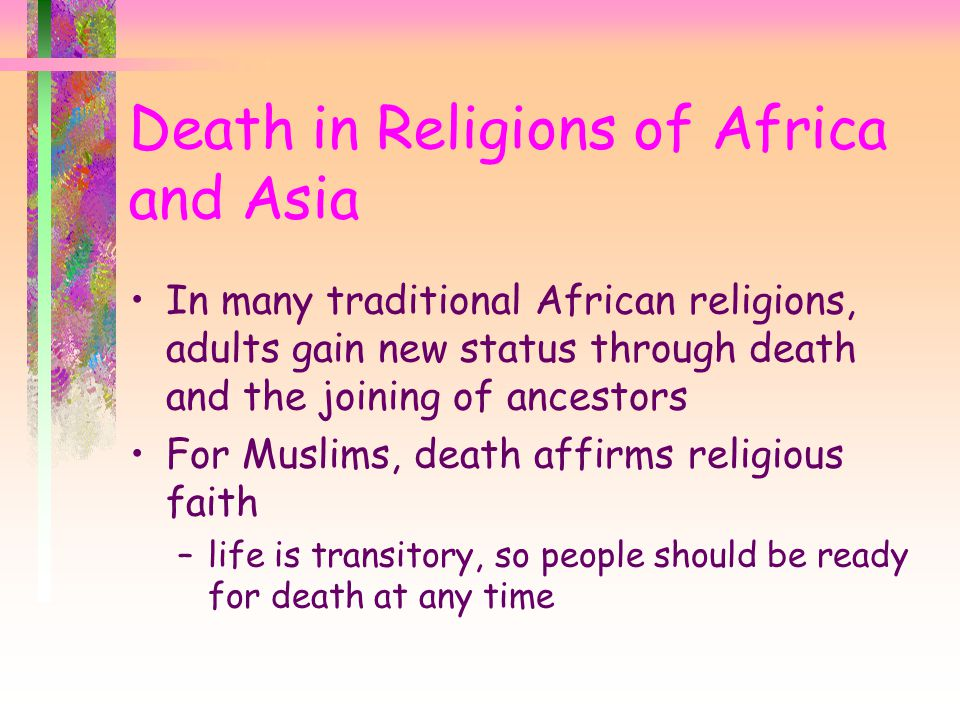 Death in Religions of Africa and Asia