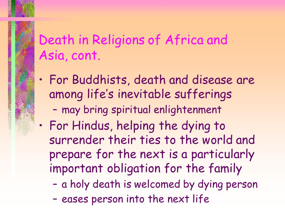 Death in Religions of Africa and Asia, cont.