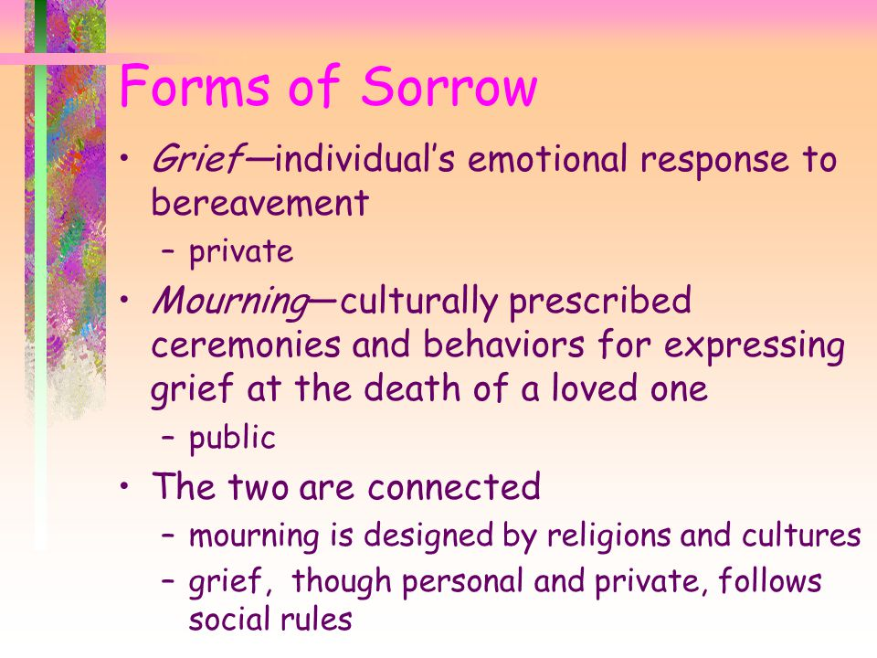 Forms of Sorrow Grief—individual's emotional response to bereavement