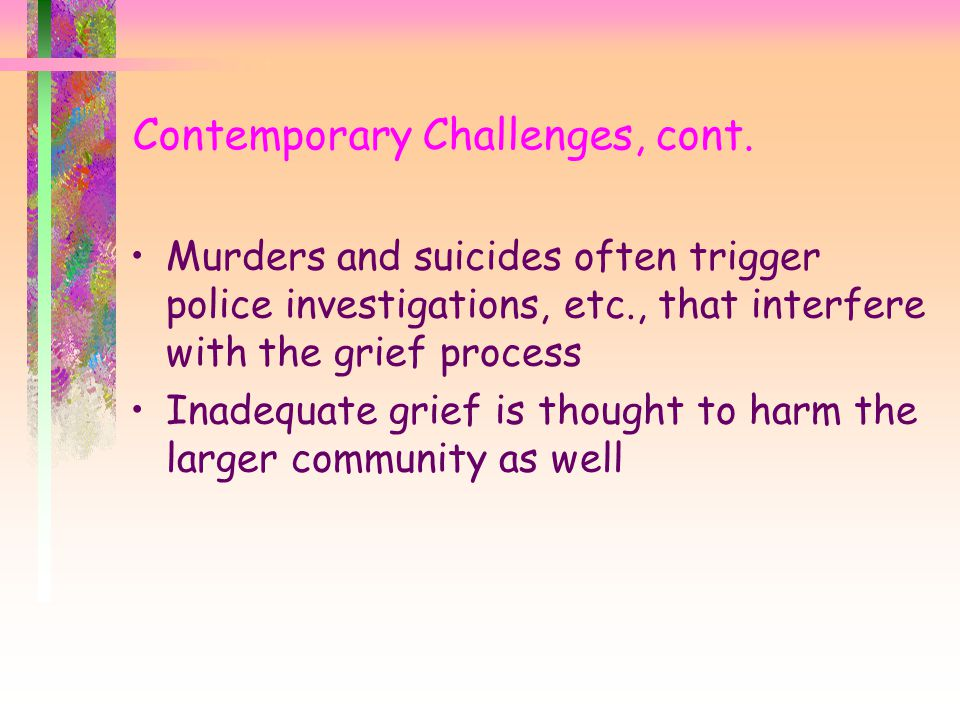 Contemporary Challenges, cont.
