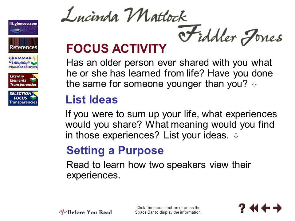 FOCUS ACTIVITY List Ideas Setting a Purpose