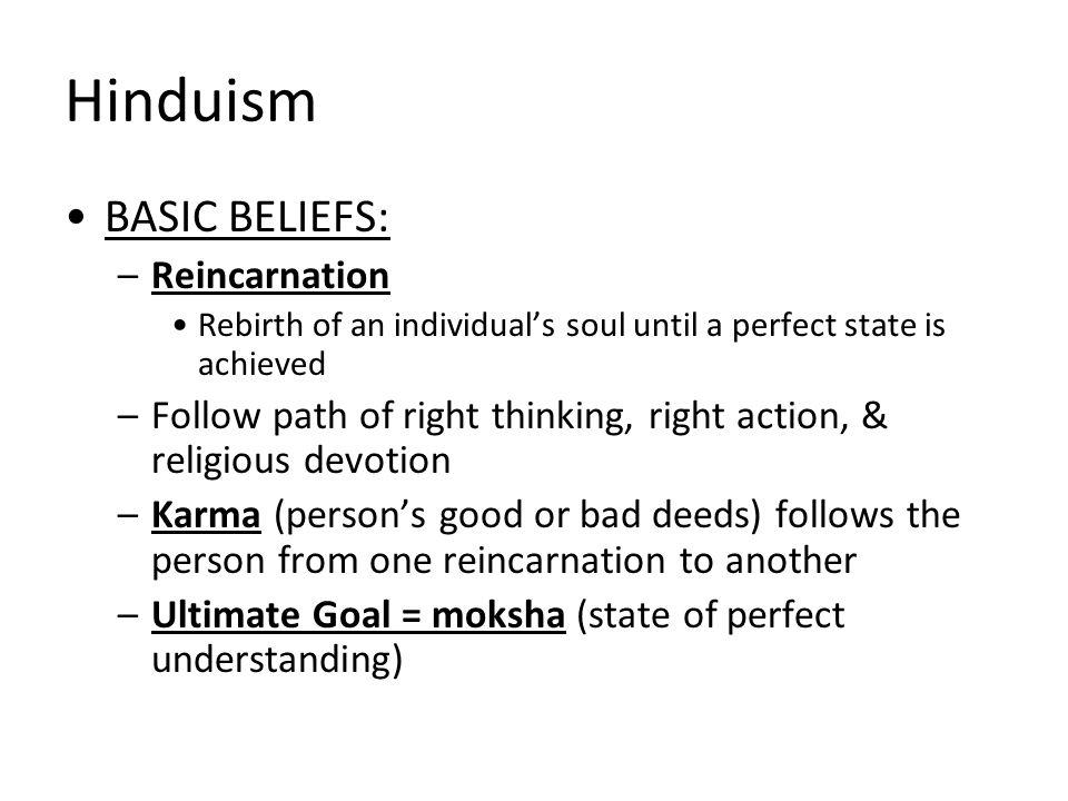 Hinduism BASIC BELIEFS: Reincarnation