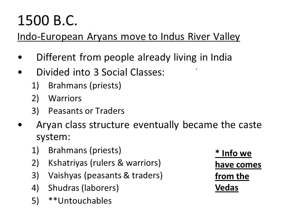 1500 B.C. Indo-European Aryans move to Indus River Valley
