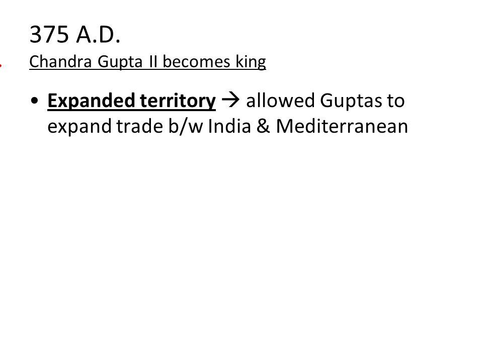 375 A.D. Chandra Gupta II becomes king