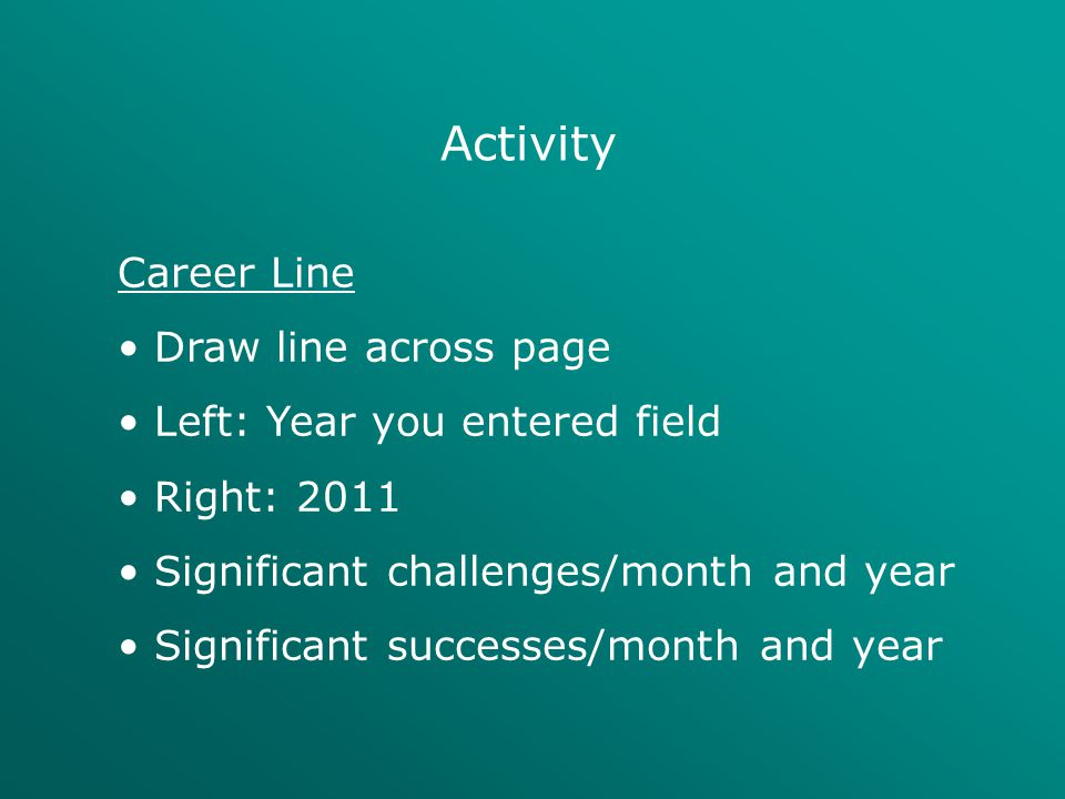 Activity Career Line Draw line across page