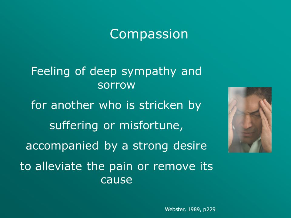 Compassion Feeling of deep sympathy and sorrow
