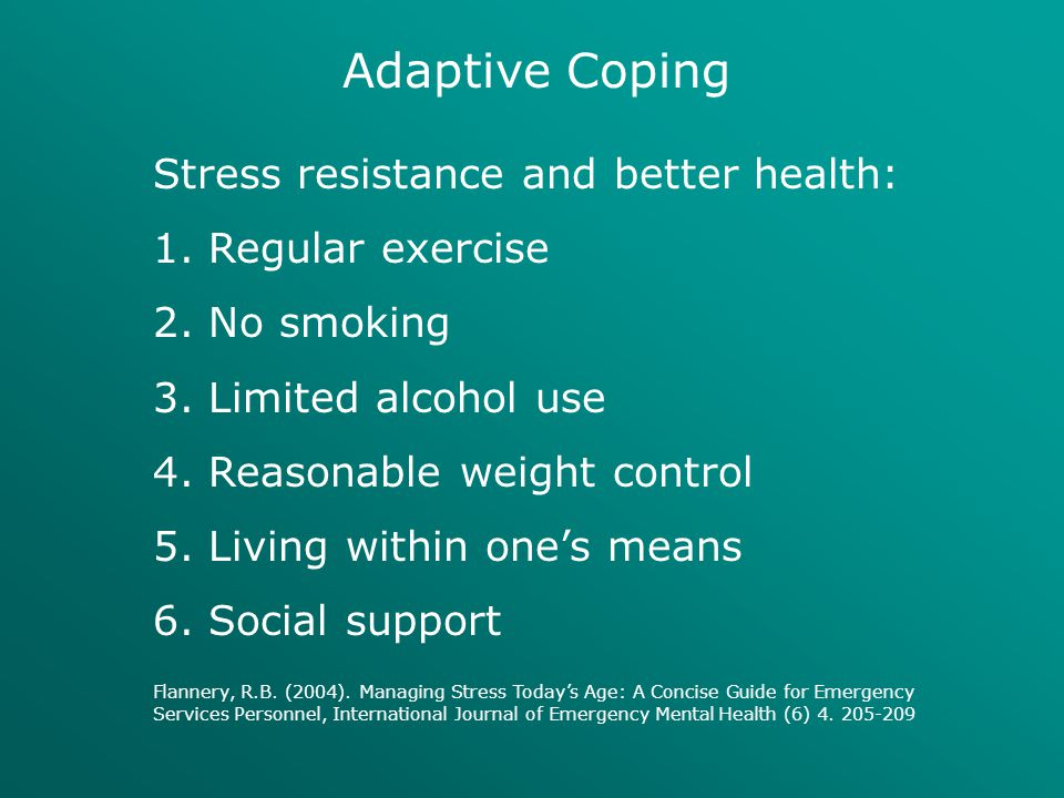 Adaptive Coping Stress resistance and better health: Regular exercise