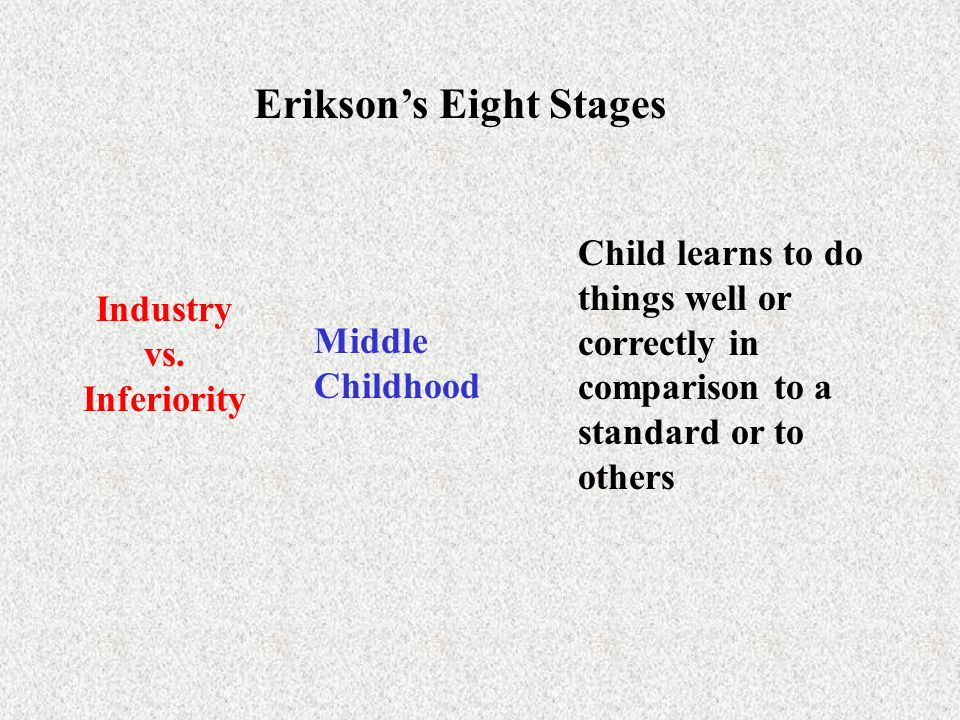 Erikson's Eight Stages Industry vs. Inferiority