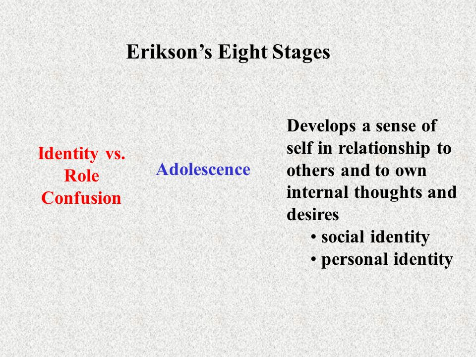 Erikson's Eight Stages Identity vs. Role Confusion
