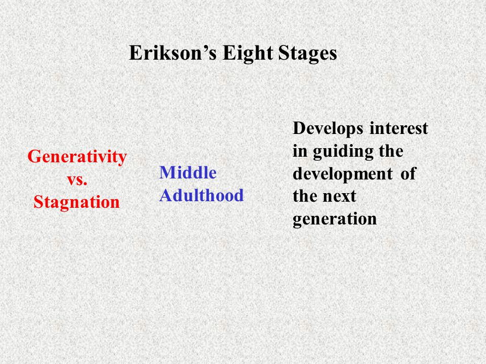 Erikson's Eight Stages Generativity vs. Stagnation