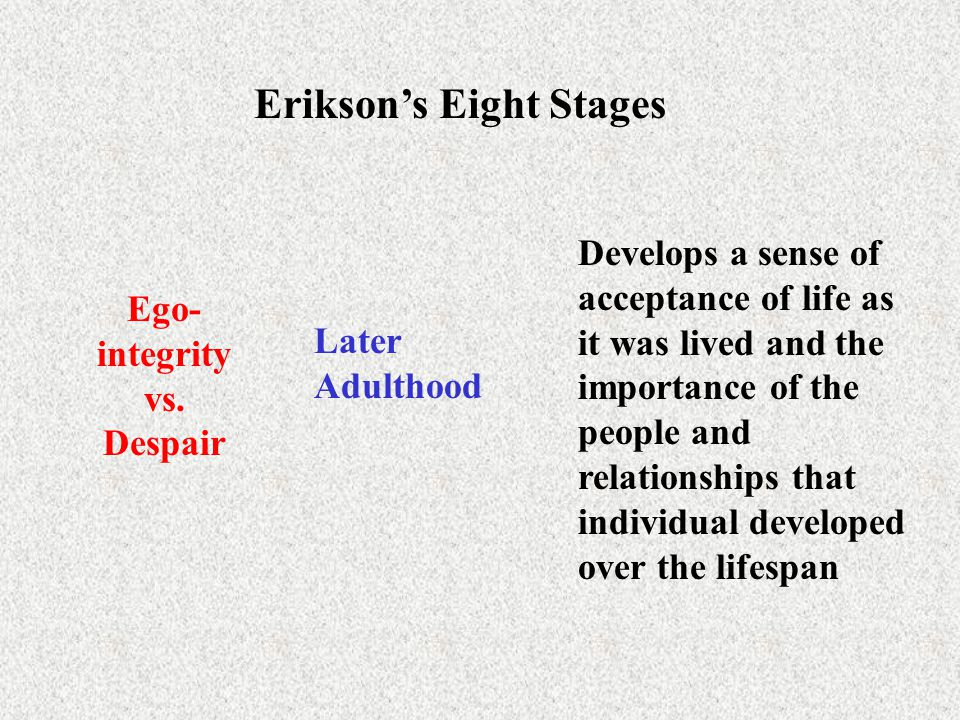 Erikson's Eight Stages Ego-integrity vs. Despair
