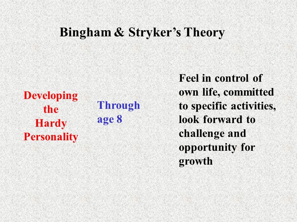 Bingham & Stryker's Theory Developing the Hardy Personality