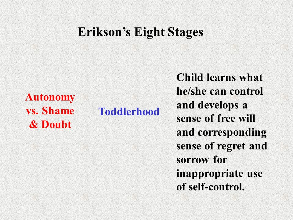 Erikson's Eight Stages Autonomy vs. Shame & Doubt