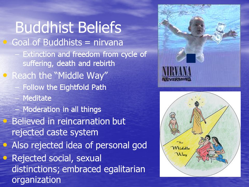 Buddhist Beliefs Goal of Buddhists = nirvana Reach the Middle Way
