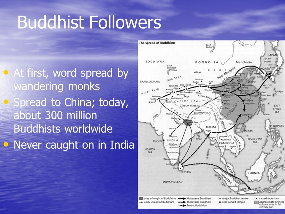 Buddhist Followers At first, word spread by wandering monks