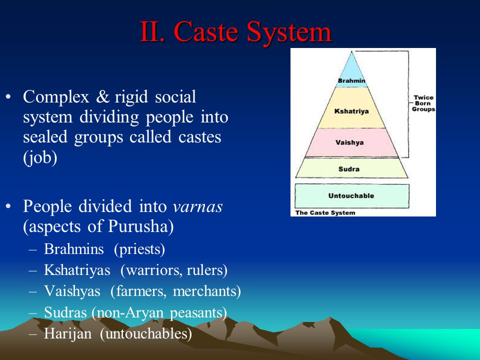 II. Caste System Complex & rigid social system dividing people into sealed groups called castes (job)