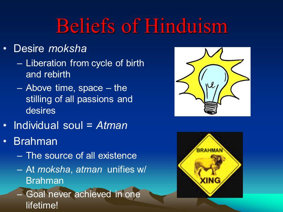 Beliefs of Hinduism Desire moksha Individual soul = Atman Brahman