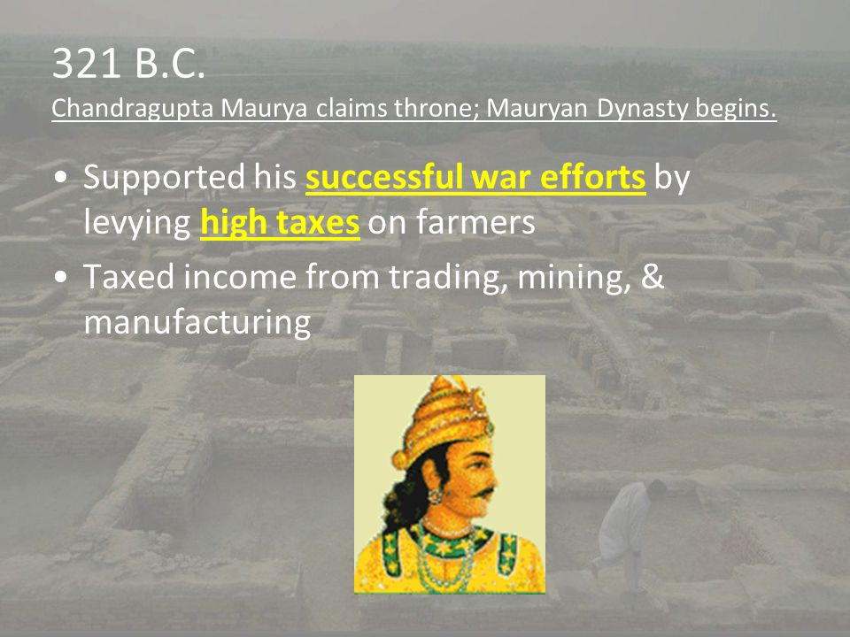 321 B.C. Chandragupta Maurya claims throne; Mauryan Dynasty begins.