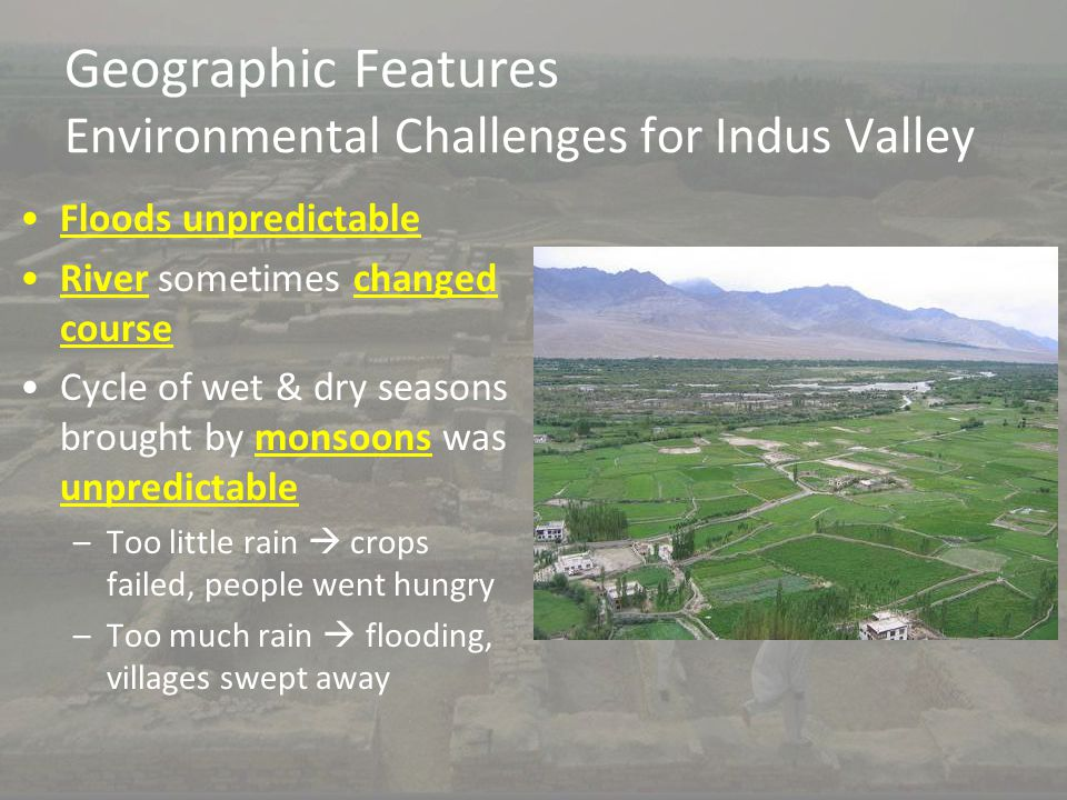 Geographic Features Environmental Challenges for Indus Valley