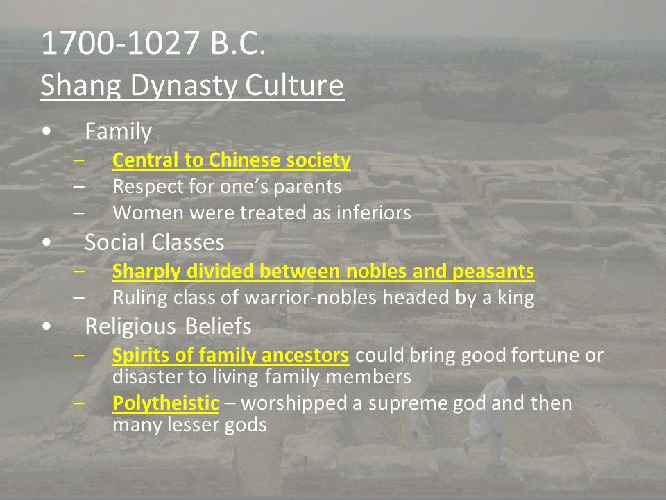 1700-1027 B.C. Shang Dynasty Culture