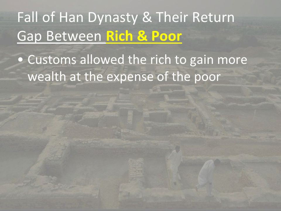 Fall of Han Dynasty & Their Return Gap Between Rich & Poor