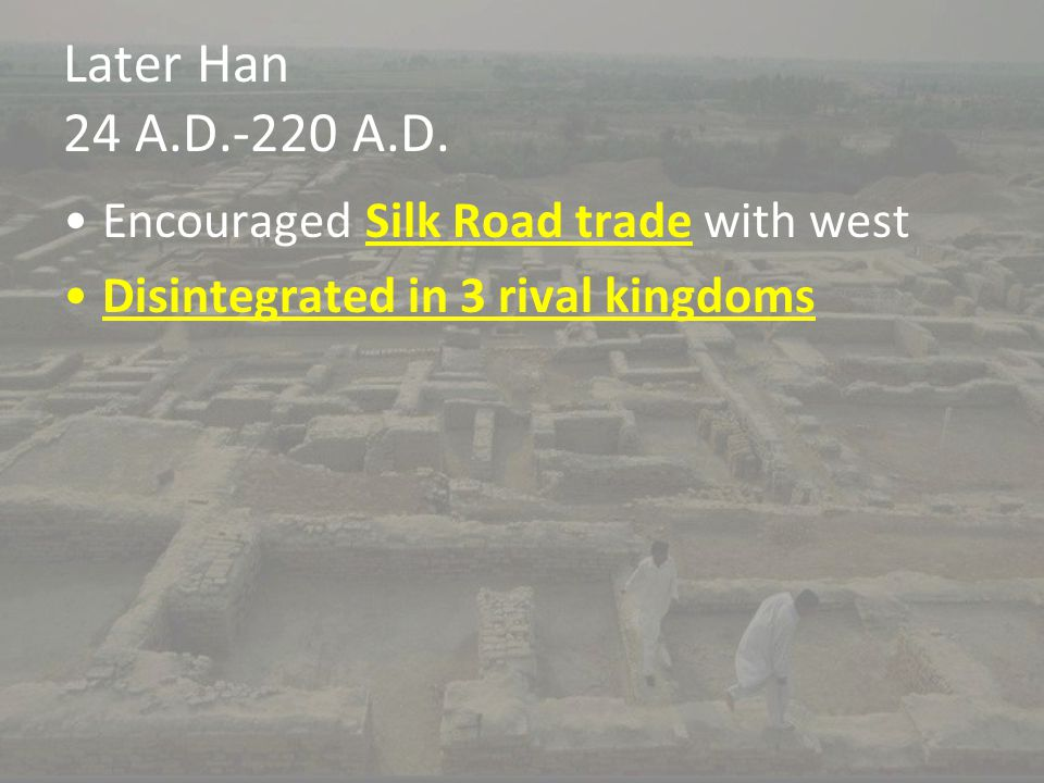 Later Han 24 A.D.-220 A.D. Encouraged Silk Road trade with west