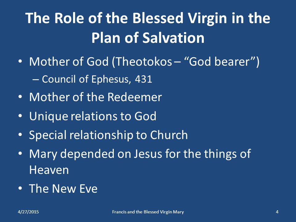 The Role of the Blessed Virgin in the Plan of Salvation