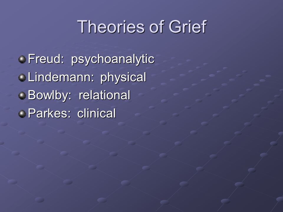 Theories of Grief Freud: psychoanalytic Lindemann: physical