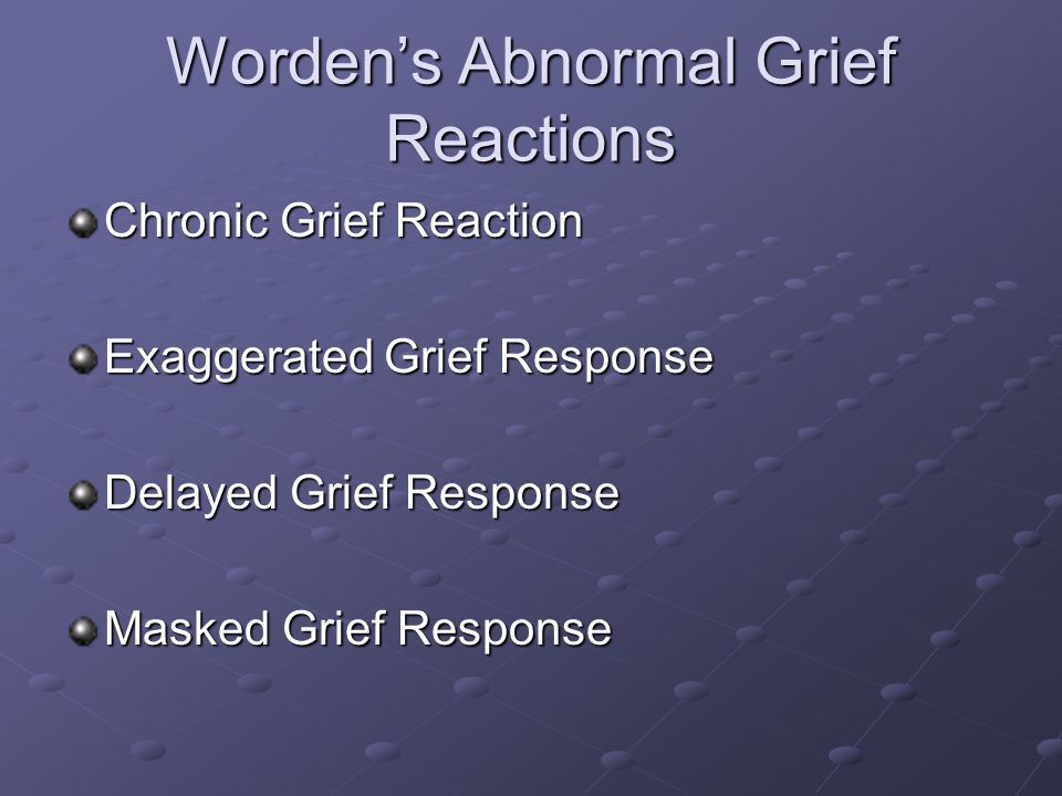 Worden's Abnormal Grief Reactions