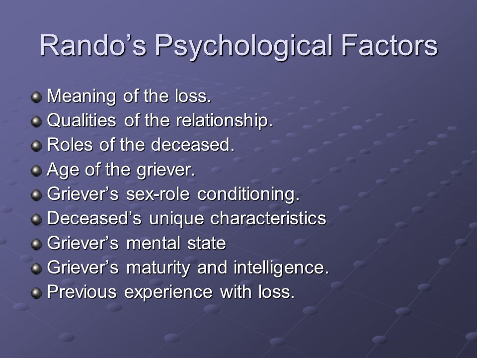 Rando's Psychological Factors