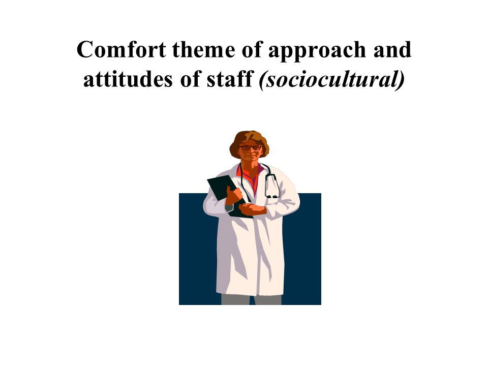 Comfort theme of approach and attitudes of staff (sociocultural)