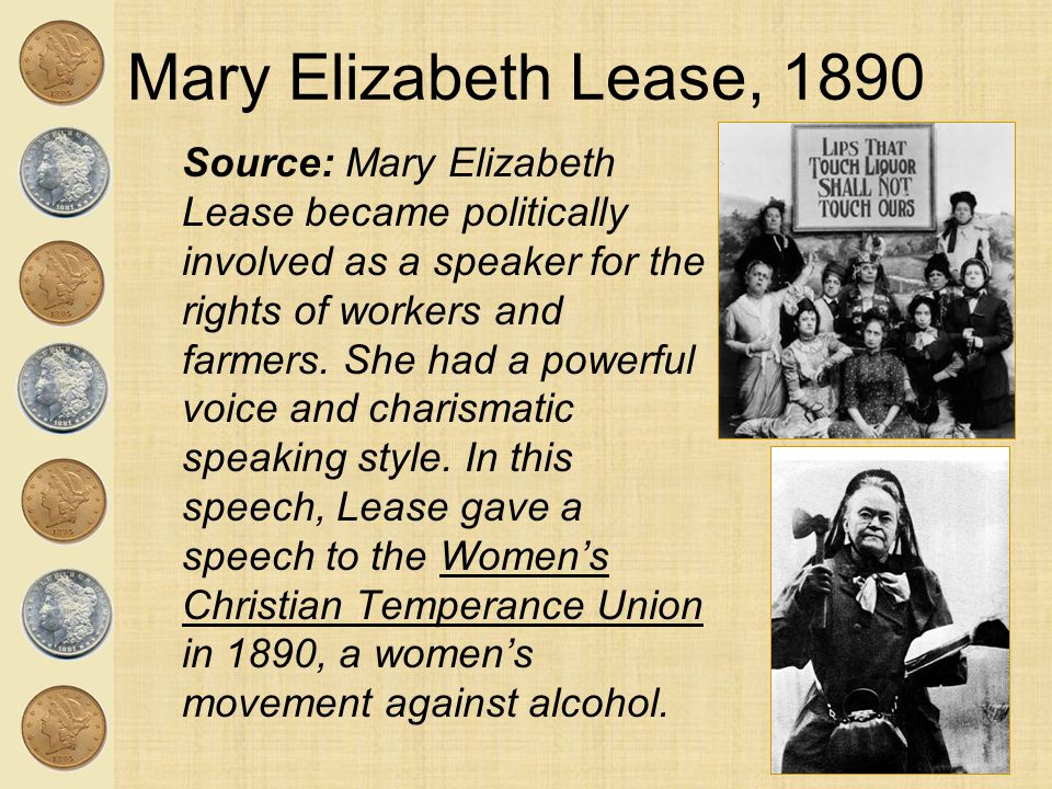 Mary Elizabeth Lease, 1890