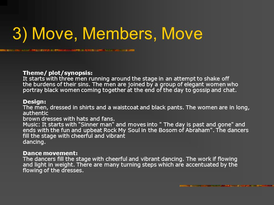 3) Move, Members, Move