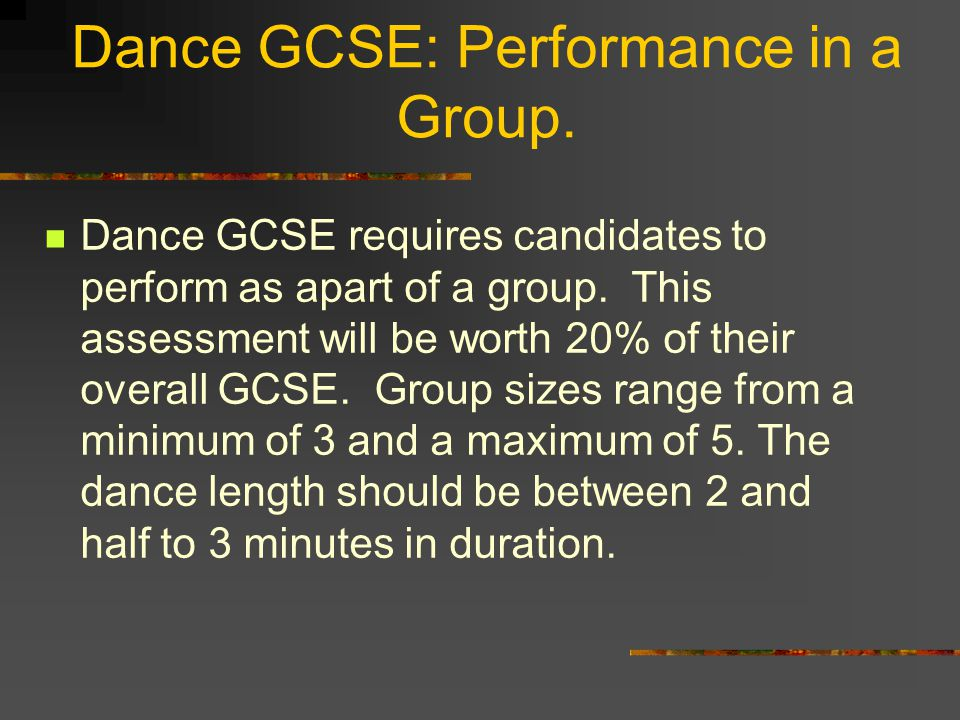 Dance GCSE: Performance in a Group.