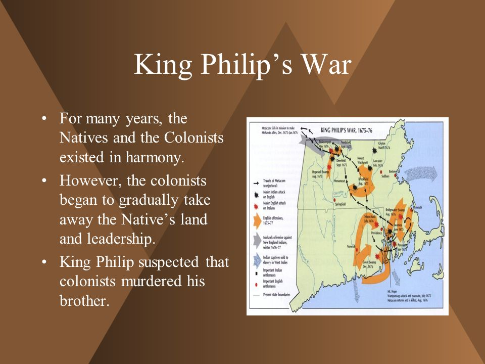 King Philip's War For many years, the Natives and the Colonists existed in harmony.