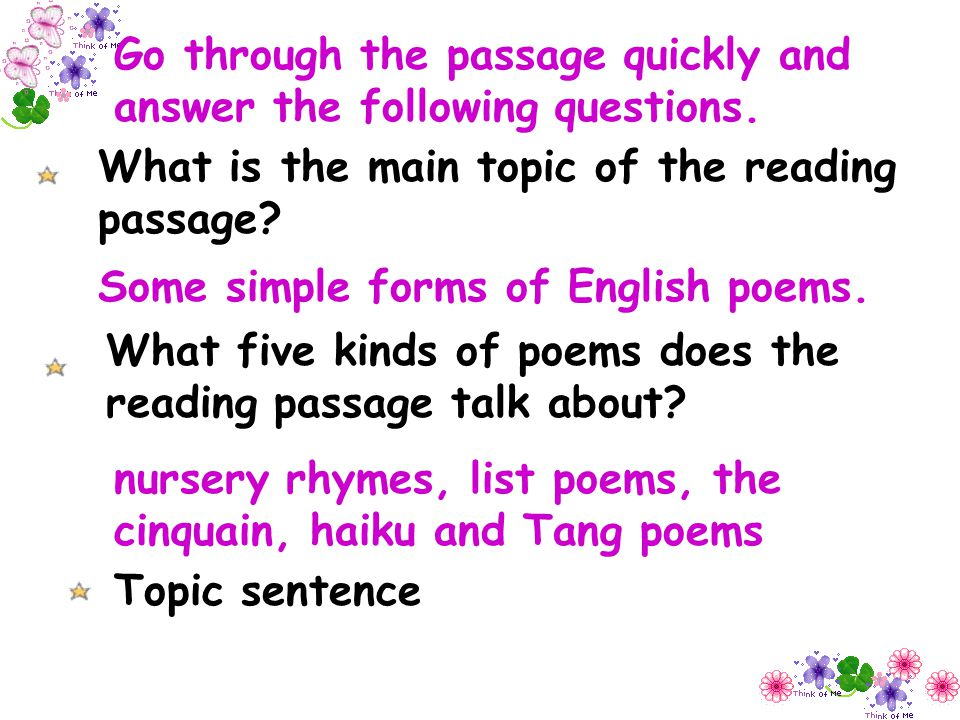 Go through the passage quickly and answer the following questions.
