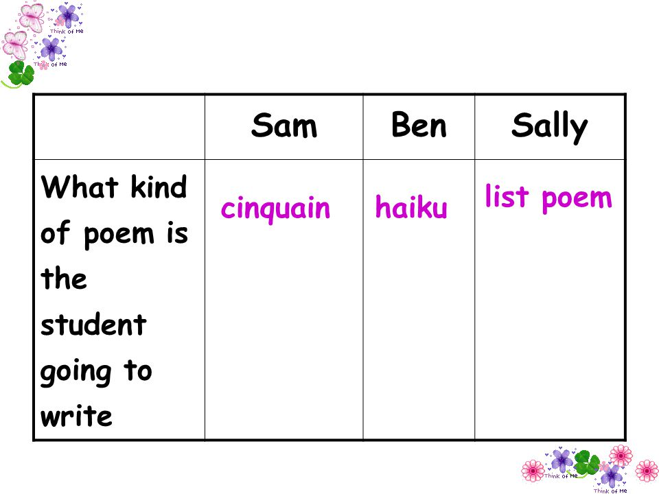 Sam Ben Sally What kind of poem is the student going to write