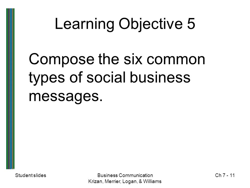 Learning Objective 5 Compose the six common types of social business messages. Student slides. Business Communication.
