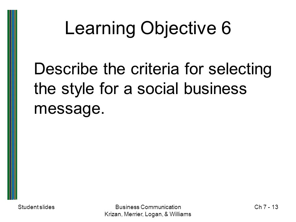 Learning Objective 6 Describe the criteria for selecting the style for a social business message. Student slides.