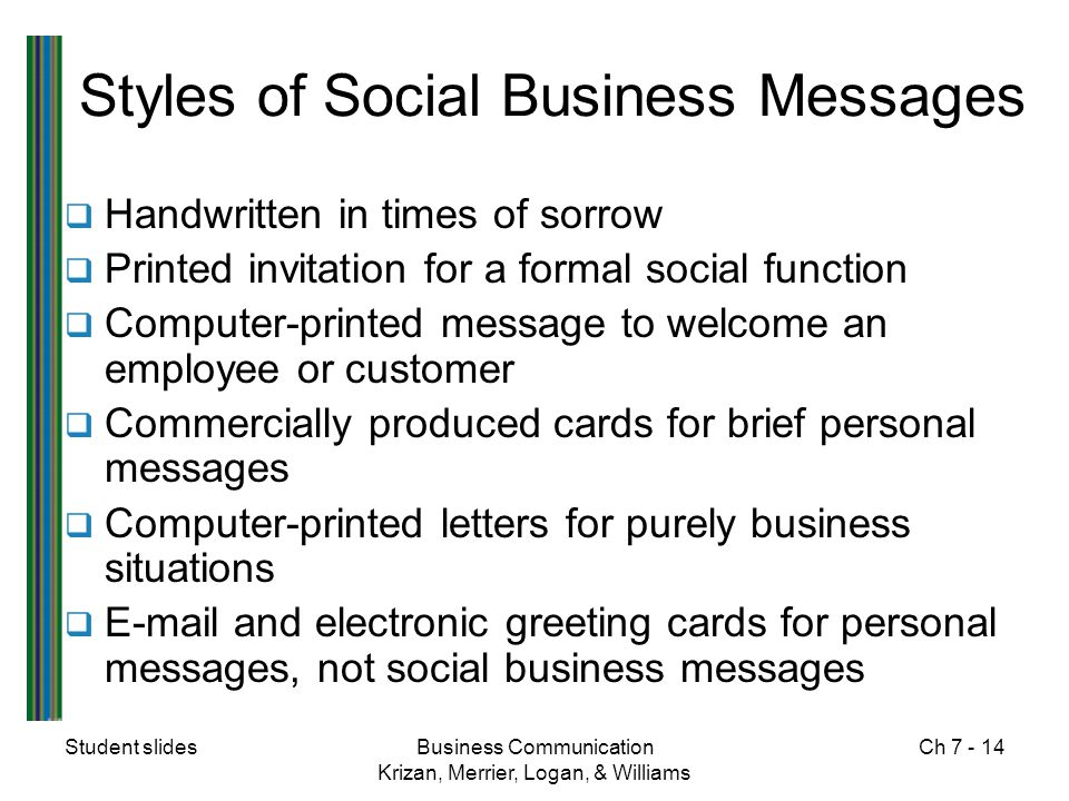 Styles of Social Business Messages