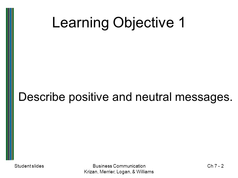 Learning Objective 1 Describe positive and neutral messages.
