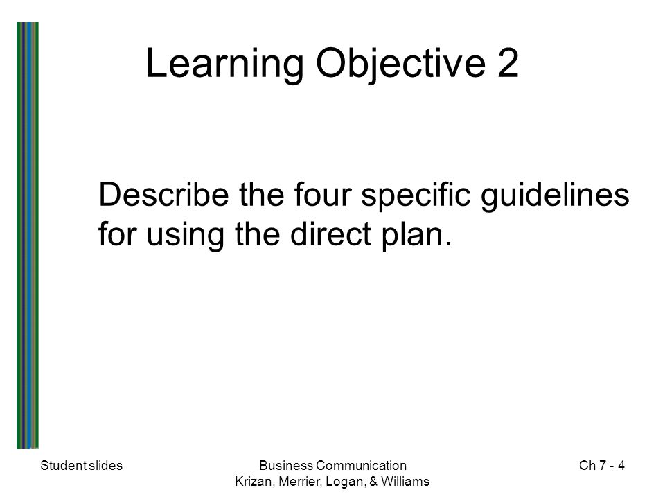 Learning Objective 2 Describe the four specific guidelines for using the direct plan. Student slides.